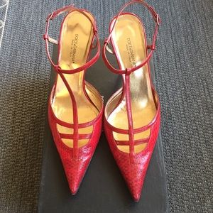 Dolce Gabbana made in Italy red snake heels